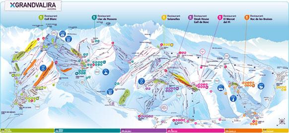 Karta över Grandvalira