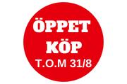 Öppet köp t o m 31 aug, 2018